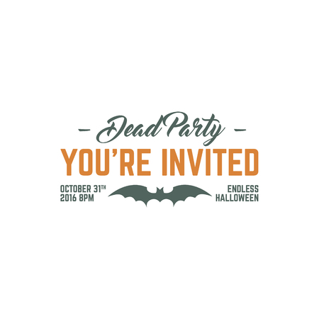 t shirt print: Happy Halloween 2016 dead party invitation label. Typography insignia for celebration holiday. Retro badge, . For web projects, tee design, t shirt print and other identity. Vector illustration