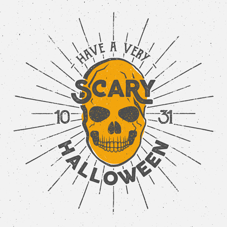 halloween tee shirt: Halloween 2016 party label template with skull, sun bursts and typography elements. Vector text with retro grunge effect. Stamp for scary holiday celebration. Print on t shirt, tee and other identity.