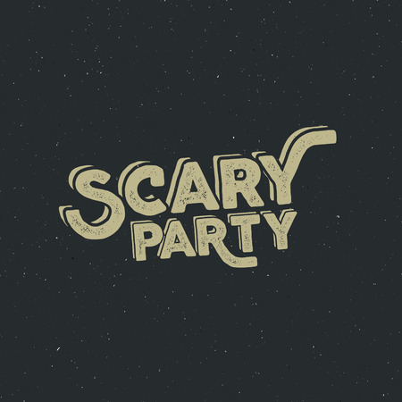 halloween tee shirt: Halloween 2016 scary party typography label template. Vector text with retro grunge effect. Stamp for scary holiday celebration. Print on t shirt, tee and other identity.