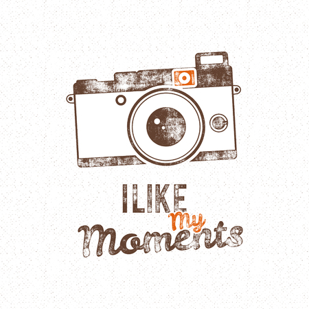 i t: Retro poster with old camera icon and vector text - i like my moments. Isolated on grunge halftone background. Photography vintage design for t shirt, tee design, web project. Inspiration vector type