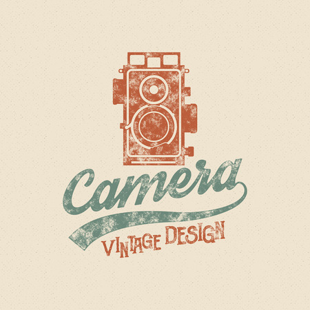 tee shirt template: Retro poster or template with old camera icon. Isolated on grunge halftone background. Photography vintage design for t shirt, tee design, web project. Inspiration vintage style type. Vector.