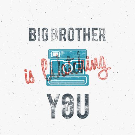affiche Retro ou d'un modèle à l'ancienne icône de la caméra. Isolé sur grunge halftone fond. Photographie conception vintage pour t-shirt, conception de tee, projet web. Texte - Big brother vous regarde. Vecteur.