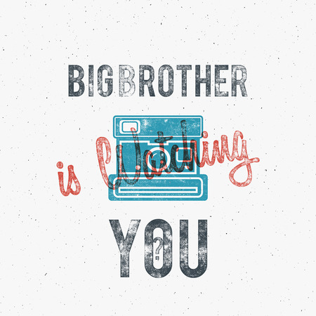 Retro poster or template with old camera icon. Isolated on grunge halftone background. Photography vintage design for t shirt, tee design, web project. Text - Big brother watching you. Vector.