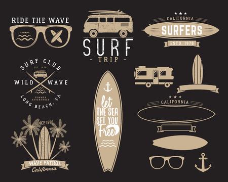 combi: Set of Vintage Surfing Graphics and Emblems for web design or print. Surfer, beach style design. Surf Badge. Surfboard seal, elements, symbols. Summer insignias. Vector hipster colors Illustration