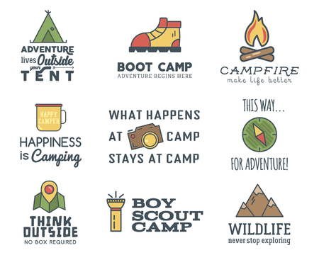 hiking trail: Camping design set with typography and travel elements - compass, mountain, tent. With vector adventure sayings and signs. Hiking trail, backpacking symbols. Nice for prints, tee design, apparel.