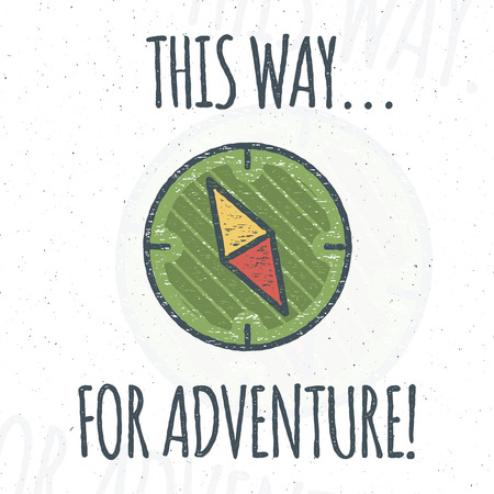 backpacking: Camping design with typography and travel elements - compass. Vector text - this way for adventure. Hiking trail, backpacking symbols in retro flat colors. Nice for prints, tee design, apparel. Illustration