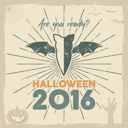 Happy Halloween 2016 Poster. Are you ready lettering and holiday symbols - bat, pumpkin, hand, witch hat, spider web and other. Retro banner, party flyer design. Vector illustration Illustration