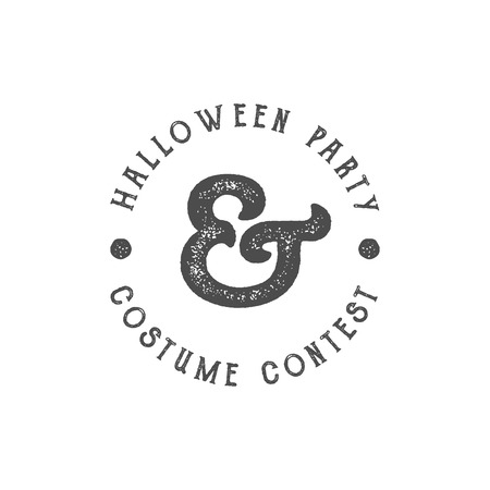 t shirt print: Happy Halloween 2016 vintage Party Label. Typography insignia for celebration holiday. Retro badge, logo. Use for web projects, tee design, t shirt print and other identity. Vector monochrome design Illustration