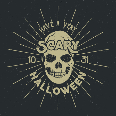 halloween tee shirt: Halloween 2016 party label template with skull, sun bursts and typography elements on dark background. Vector text with retro grunge effect. Stamp for scary holiday celebration. Print on t shirt, tee. Illustration