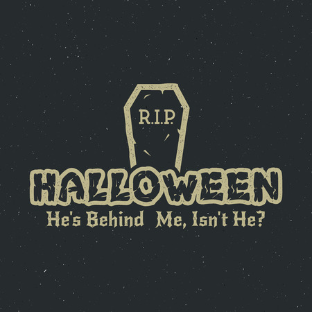 halloween tee shirt: Halloween 2016 party label template with tombstone and typography elements. Vector text with retro grunge effect. Stamp for holiday celebration. Isolate on dark. Print on t shirt, tee design, apparel.