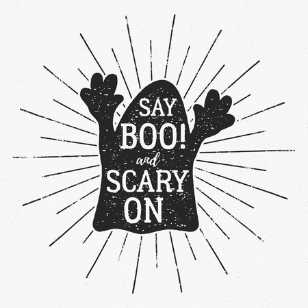 party night: Vector Halloween typography label template. Vector text - say boo and scary on. With retro grunge effect. Poster, banner for holiday celebration. Print on t shirt, tee, card, invitation and other identity. Illustration