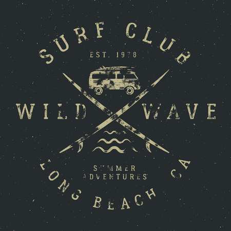 combi: Surfing tee design in vintage rubber style with surf symbols - old rv car, surfboards and summer typography - wild wave, surf club. Vector hipster patch for t shirt, clothing print.