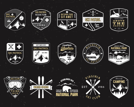 Stamps for outdoors camp. Different tourism hipster style patch and badges. Expedition emblem. Winter or summer ski patrol graphic. Snowboarding insignia First aid mountain rescue logo for web, print Stock Illustratie
