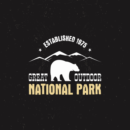 campsite: Stamp for national park, camp. Tourism hipster style patch, badge. Expedition emblem. Winter or summer campsite graphic. Campground insignia. Adventure logo for web, print t shirt, tee design.
