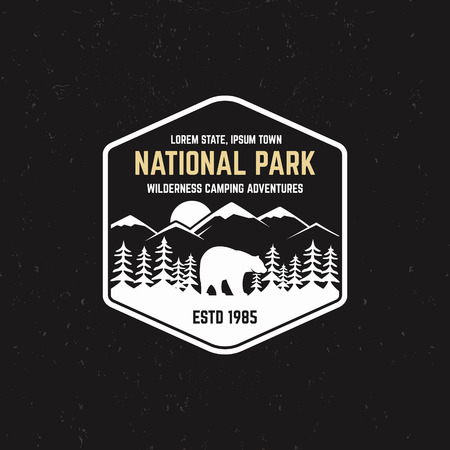 campground: Stamp for national park, outdoor camp. Tourism hipster style patch, badge. Expedition emblem. Winter or summer campsite graphic. Campground insignia. Adventure logo for web, print t shirt, tee design.