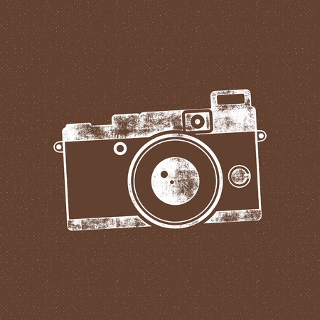 tee shirt template: Retro camera icon. Old poster template. Isolated on grunge halftone background. Photography vintage design for t shirt, tee design, web project. Inspiration vintage stamp style. Vector. Illustration