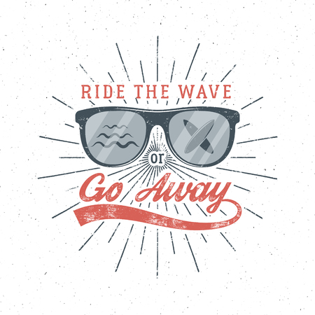Vintage Surfing Graphics and Poster for web design or print. Surfer glasses emblem summer beach logo design and typography sign - ride the wave or go away. Surf Badge. Surfboard seal, element. Vector.