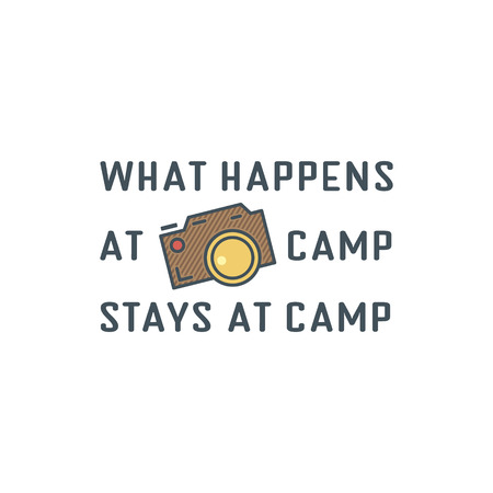 nice stay: Camping logo design with typography and travel elements - old camera. Vector text - happens at camp stay at campsite. Retro flat colors. Nice for prints, tee design, web infographics. Illustration