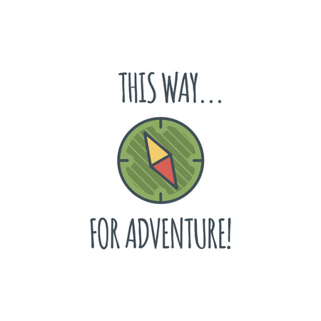 wanderlust: Camping vintage label with compass and typography quote - this way for adventure. Vector logo template. Hiking trail, backpacking symbols in retro flat colors. Nice for prints, tee design, apparel.