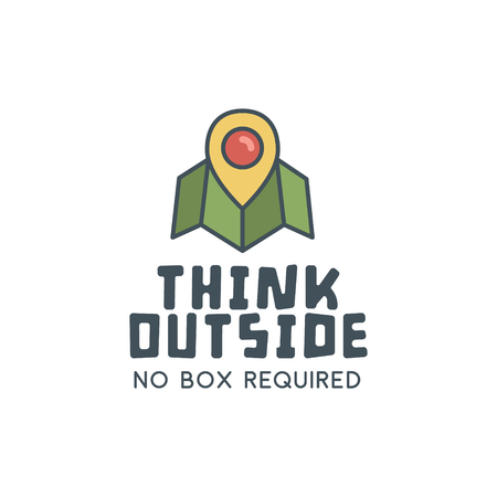 hiking trail: Hiking trail logo design with typography and travel elements - map, pin. Vector text - think outside. Retro flat colors. Nice for prints, tee design, web infographics, adventure sites or magazines.
