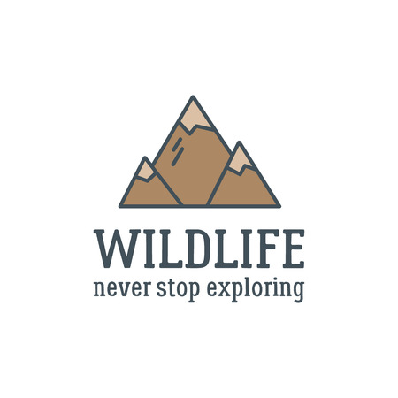 exploring: Camping logo design with typography and travel elements - mountain. Vector text - wildlife, never stop exploring. Hiking trail, backpacking symbols in retro flat colors. Nice for prints, tee design. Illustration