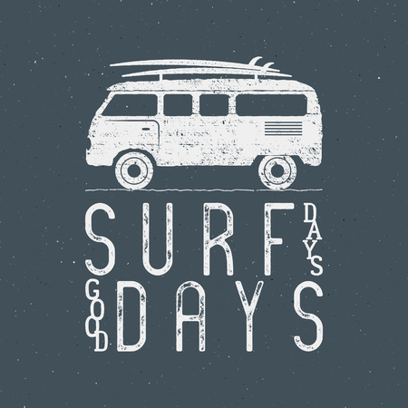 Vintage Surfing Graphics and Poster for web design or print. Surfer banner with van, rv and typography sign - surf days. Old style caravan car for prints, tee, t shirt. Isolate Vector on dark. Illustration
