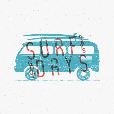 surf vector: Vintage Surfing Graphics and Poster for web design or print. Surfer banner with van, rv and typography sign - surf days. Old style caravan car for prints, tee, t shirt. Vector. Illustration