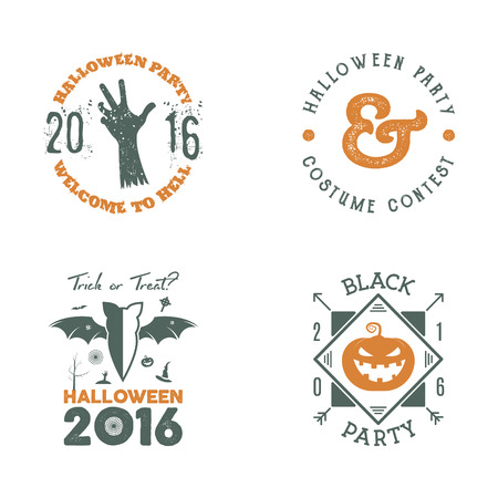 halloween tee shirt: Halloween 2016 party label templates with scary symbols - zombie hand, bat, pumpkin and typography elements. Use for party posters, flyers, invitations. On t shirt, tee, clothing apparel.