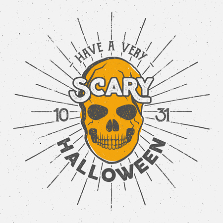 halloween tee shirt: Halloween 2016 party label template with skull, sun bursts and typography elements. Vector text with retro grunge effect. Stamp for scary holiday celebration. Print on t shirt, tee design, apparel.