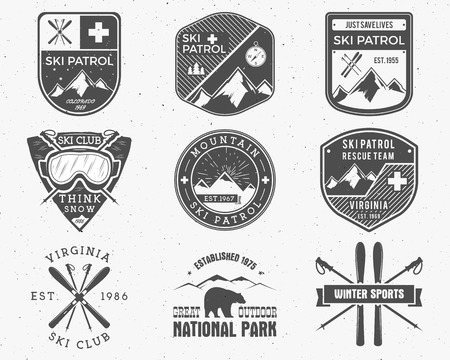 patrol: Outdoors camp stamp vector design. Tourism hipster patch and badges. Expedition emblem. Winter, summer Ski patrol graphic. Snowboarding, ski labels set. First aid mountain patrol logo for web, print
