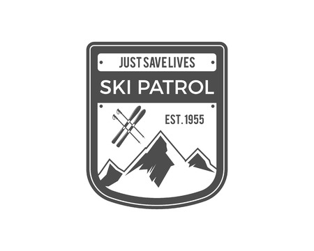 wilderness: Ski Patrol Label. Vintage Mountain adventure, explorer badge. Outdoor adventures logo design. Travel hand drawn and hipster monochrome emblem. First aid icon symbol. Wilderness Vector. Illustration