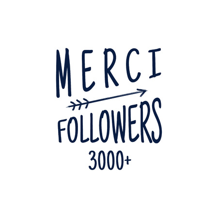 follower: Vintage Thank you badge. Social media Follower label and sticker. Handwriting lettering - merci with hipster elements - sunbursts, heart. Vector rubber design banner, isolated.