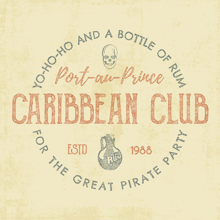 caribbean: Vintage handcrafted label, emblem. Caribbean club  template. Sketching filled style. Pirate and sea symbols - old rum bottle, pirate skull. Retro stamp and patch. For tee design, prints. Vector.