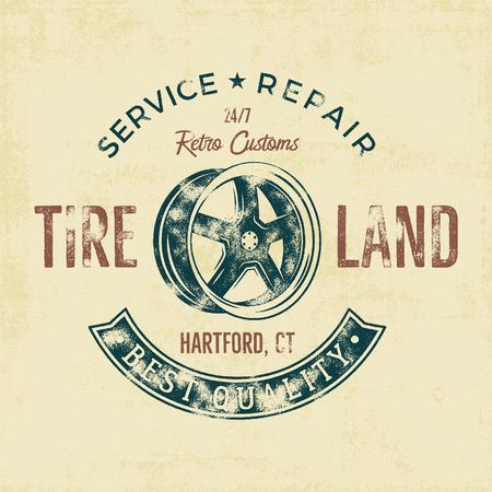 crankshaft: Garage service vintage tee design graphics, Tire land, repair service typography print. T-shirt stamp, teeshirt graphic, premium retro artwork. Use also as emblem,