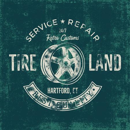Garage service vintage tee design graphics, Tire land, repair service typography print. T-shirt stamp, teeshirt graphic, premium retro artwork. Old school car emblem,