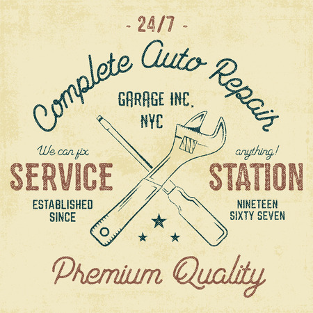 tee shirt: Service station vintage label, tee design graphics, auto repair service typography print. T-shirt stamp, teeshirt graphic, premium retro artwork. Use as tee shirt print, emblem,