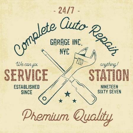 Service station vintage label, tee design graphics, auto repair service typography print. T-shirt stamp, teeshirt graphic, premium retro artwork. Use as tee shirt print, emblem,