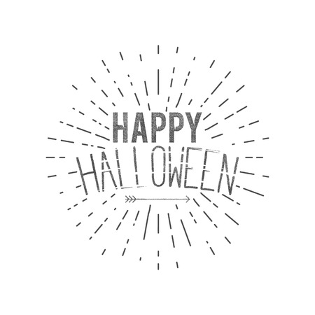 halloween tee shirt: Happy Halloween label. Vector holiday wishes overlay for photo, cards. Typography design with sun bursts and. Vector text with retro grunge effect and arrow. Print on t shirt, tee design, apparel. Illustration