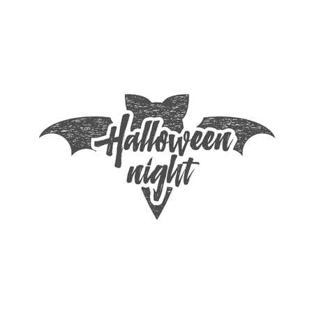 halloween tee shirt: Halloween party night label template with bat, sun bursts and typography elements isolate on white. Vector text with retro grunge effect. Stamp for halloween cards, holiday prints, tee, t shirts. Illustration