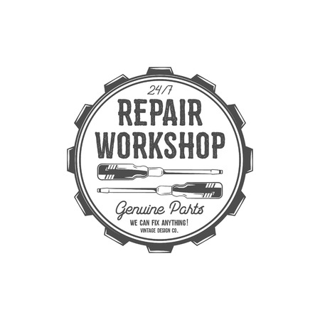 old service station: Vintage label design. Repair workshop patch in old style with screwdrivers. Use for repair station, car service logo, badge, insignia. Retro monochrome design. Vector stamp Illustration
