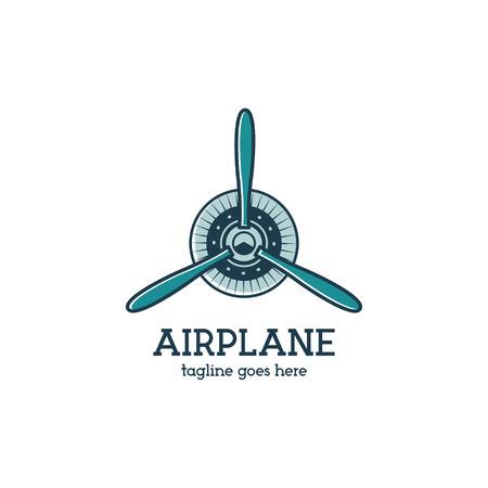 Aereo modello dell'elica logo con motore radiale. Retro distintivo Plane. Design piatto per stampe su tshirt, abbigliamento abbigliamento, web e altre identità. timbro Aviation. Isolati su bianco background.Vector Logo