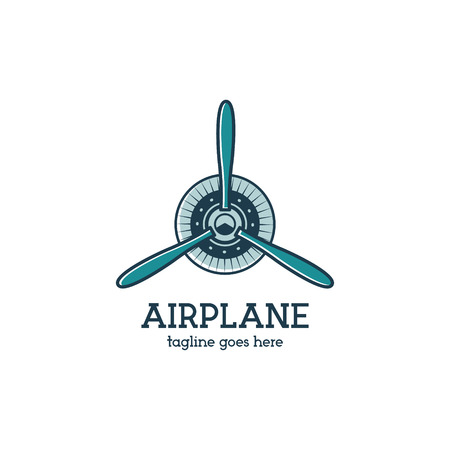 Airplane propeller logo template with radial engine. Retro Plane badge. Flat design for prints on tshirt, clothing apparel, web and other identity. Aviation stamp. Isolated on white background.Vector