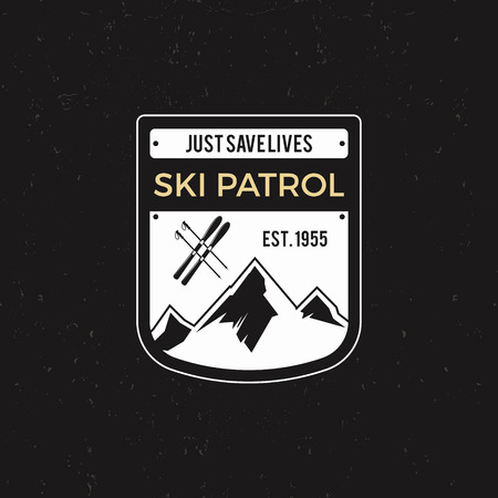 patrol: Winter ski patrol Label with ski equipment and mountains. Vintage extreme adventure badge. Outdoors logo design. Travel hand drawn and hipster insignia. Wilderness stamp isolate on dark. Vector