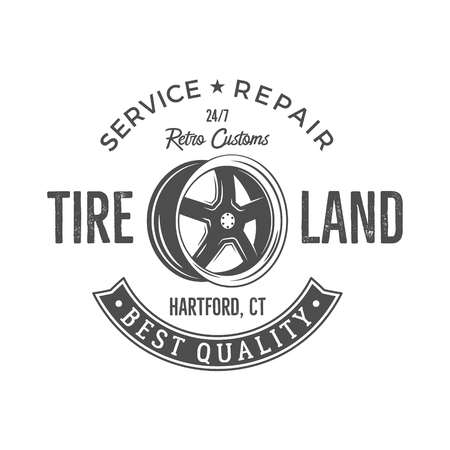 old service station: Vintage label design. Tire service emblem in monochrome retro style with vector old wheel and typography elements. Good for tee shirt design, prints, car service  , repair station label, pathes Illustration