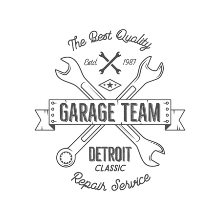 crankshaft: Garage service vintage tee design graphics, Detroit classic, repair service typography print. Black T-shirt stamp, teeshirt graphic, premium retro artwork. Best for emblem,  . Vector. Illustration