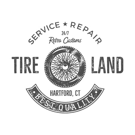old service station: Vintage tire service label design. Retro emblem in monochrome retro style with vector old wheel and typography elements. Good for tee shirt design, prints, car service  , repair station label. Illustration