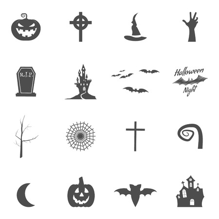 creator: Set of halloween design creation tool kit. Icons isolate. Silhouette holiday design creator. Party symbols - pumpkin, bat, witches hat, vampire house, lonely tree Create own scary design, tee, t-shirt Illustration