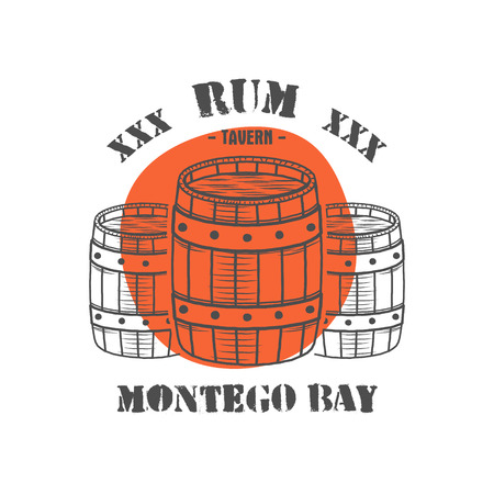 rum: Vintage handcrafted poster template with old barrels and  sign - rum, montego bay. Sketching filled style. Retro design for banner, flyer. Isolated on white background with red shape.