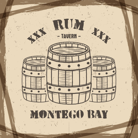 rum: Vintage handcrafted poster template with old barrels and  sign - rum, montego bay. Sketching filled style. Retro design for banner, flyer. Isolated on old paper background. Illustration
