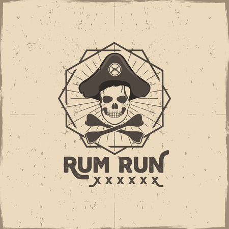halloween tee shirt: Pirate skull insignia or poster. Rum label design with sun bursts, geometric shield and  text - rum run. Vintage style for tee design, t-shirt, web projects, logotype, pub. Isolate on grunge. Illustration